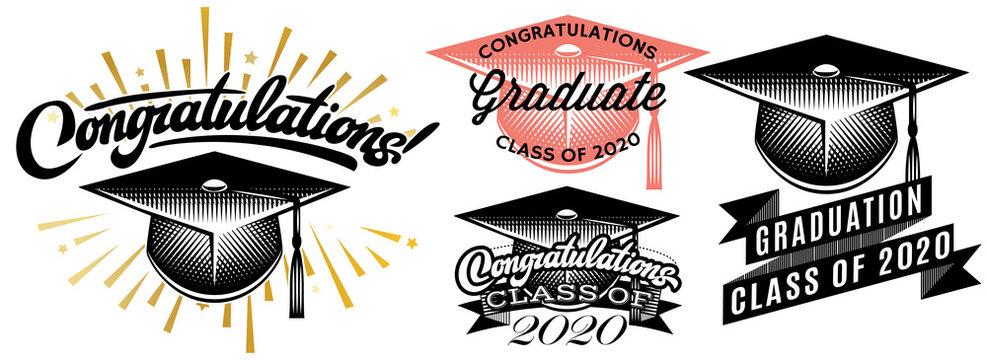 Set of Graduation vector Class of 2020. Congrats grad Congratulations Graduate