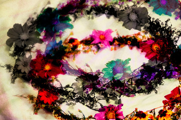 Colorful floral garlands composition