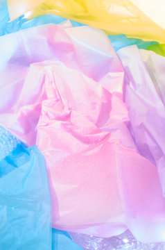Multicolored tissue paper and bubble wrap