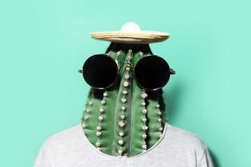 Minimal pop-art collage portrait of green cactus-headed man wearing black round shades and mexican hat on background of aqua menthe color.