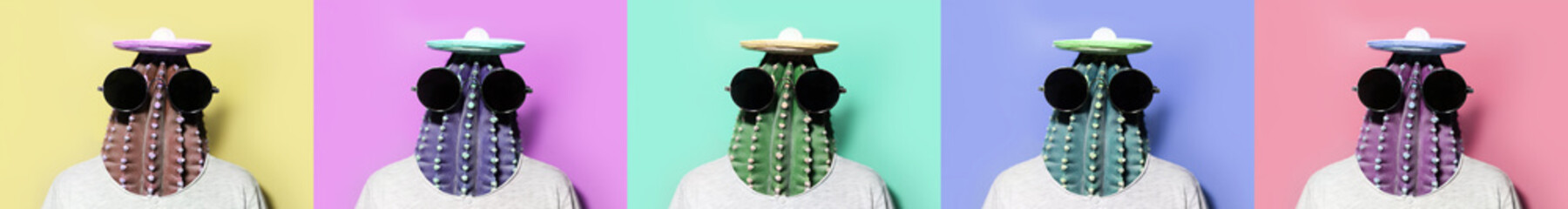 Minimal pop-art collage portraits of green cactus-headed man wearing black round shades and mexican hat on colorful backgrounds.