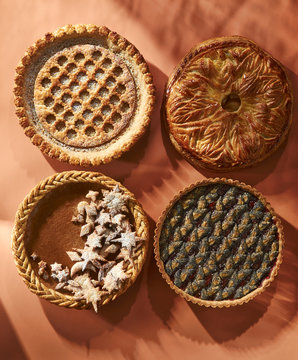 Variety of four festive Thanksgiving pies
