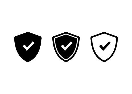 Shield Check Mark icon, Shield Check Mark sign and symbol vector design