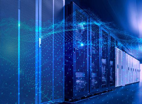 3D rendering Concept of big data processing center, cloud database, station of future, data mining, energy server. Digital information technologies, machine programming.