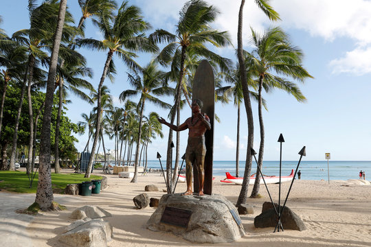 Waikiki Beach is nearly empty due to the business downturn caused by the coronavirus disease (COVID-19) in Honolulu
