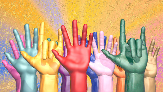 Raised hands as a symbol of freedom. 3D rendering
