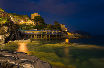 Evening in the picturesque village of Bogliasco on Ligurian seashore near Genoa, Liguria, Italy