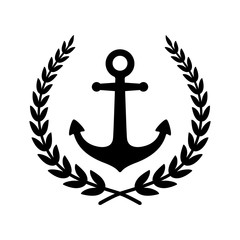 Anchor vector icon Laurel Wreath logo boat symbol pirate helm Nautical maritime simple illustration graphic doodle design