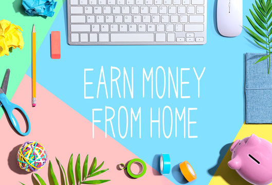 Earn money from home with office supplies and a computer keyboard