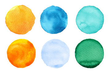 Set of colorful watercolor circles isolated on white. Watercolor round shapes