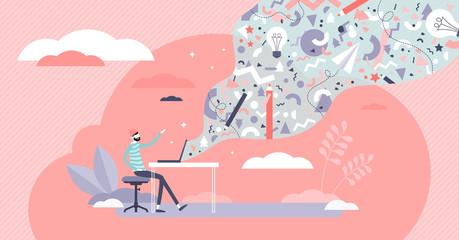 Digital creativity vector illustration. Visual art flat tiny persons concept Wall mural