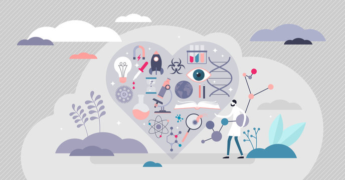 Love science vector illustration. Knowledge affection tiny persons concept.