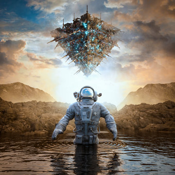 Planet of the ancients / 3D illustration of science fiction scene with astronaut encountering giant space ship on alien world