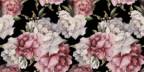 Obraz Seamless floral pattern with peonies on dark background, watercolor. Template design for textiles, interior, clothes, wallpaper. Botanical art - fototapety do salonu