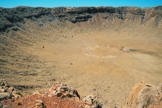 High Angle View To Meteor Crater