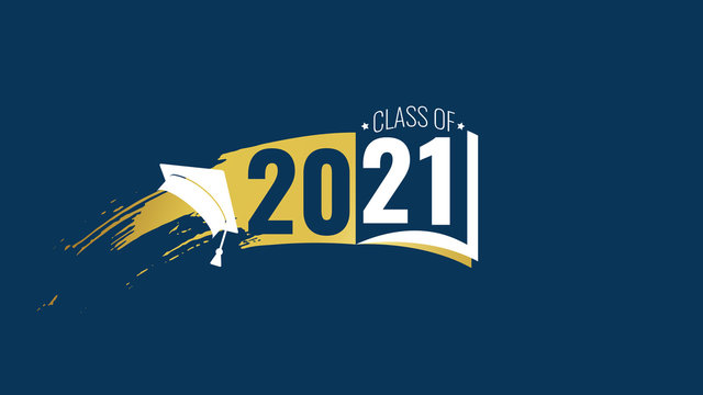 Class of 2021. White, blue number, education academic cap, open book on blue background. Template graduation design frame, high school, college congratulation graduate, yearbook. Vector illustration.
