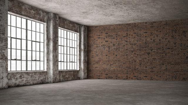 Empty, loft industrial grunge interior. Old brick walls and big windows.  Interior concept background . 3d Render