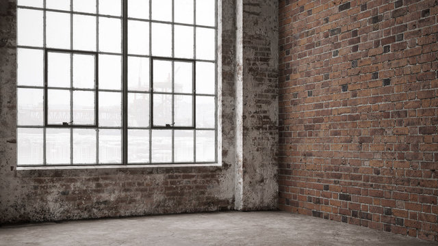 Empty, large interior with old brick walls and big windows.  Interior concept background . 3d Render