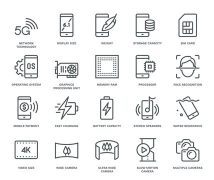 Smartphone Specification Icons.