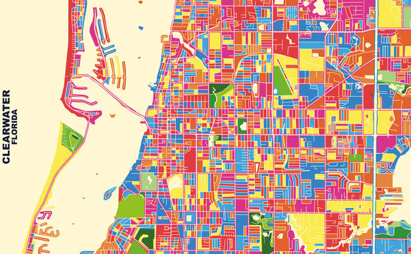 Clearwater, Florida, USA, colorful vector map