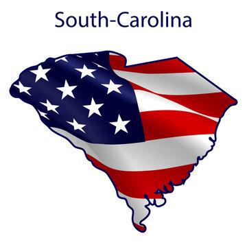 South Carolina full of American flag waving in the wind