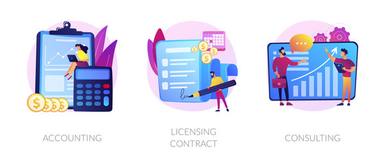 Wall Mural - Financial audit and literacy. Financier, banker advising, bookkeeping. Agreement signing. Accounting, licensing contract, consulting metaphors. Vector isolated concept metaphor illustrations
