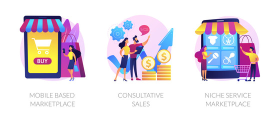 Retail business cartoon icons set. Online shop smartphone app. Mobile based marketplace, consultative sales, niche service marketplace metaphors. Vector isolated concept metaphor illustrations Papier Peint