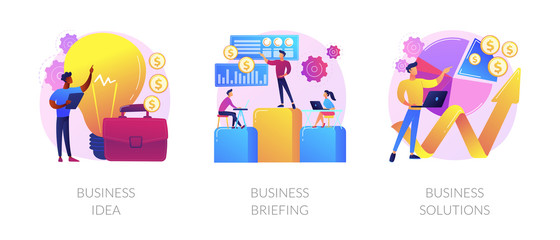 Wall Mural - Successful development icons set. Innovative project, team building, analytical software. Business idea, business briefing, business solutions metaphors. Vector isolated concept metaphor illustrations