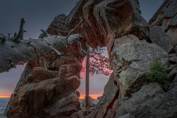 Sunrise at the Royal Arch in Boulder, Colorado