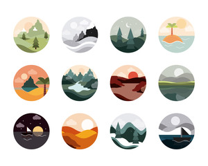 Foto auf AluDibond Weiß landscape nature mountains ocean and forest in circle icons set flat style icon