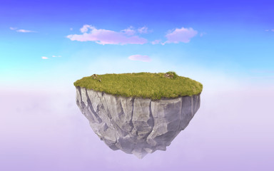 3d paradise rock floating island with green grass field, surrealism 3d rendering float stone land isolated on purple sunset sky