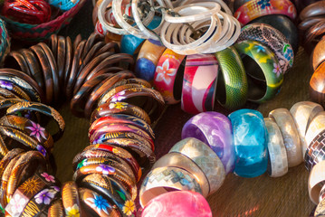 Handmade colorful bracelets in a local market of Bali, Indonesia
