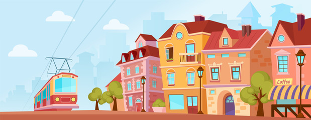 Sunny historical city street. Old city banner with tram. Cartoon vector illustration. Fototapete
