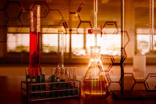 Digital Composite Image Of Laboratory Equipment And Scientific Formulas