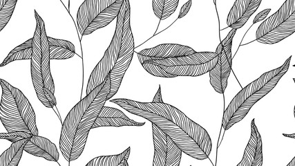 Foliage seamless pattern, eucalyptus leaves line art ink drawing in black on white