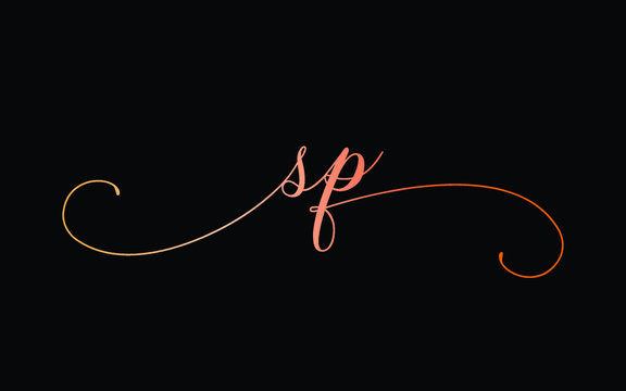 sp or s, p Lowercase Cursive Letter Initial Logo Design, Vector Template