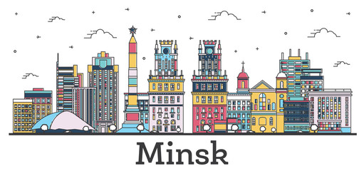 Wall Mural - Outline Minsk Belarus City Skyline with Color Buildings Isolated on White.
