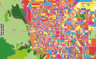 Boulder, Colorado, USA, colorful vector map
