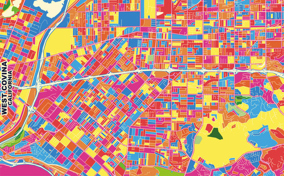 West Covina, California, USA, colorful vector map