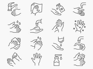 Hand washing line icons set. Black vector illustration. Editable stroke.