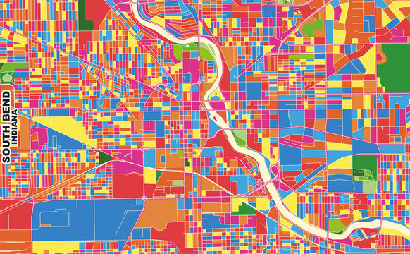 South Bend, Indiana, USA, colorful vector map