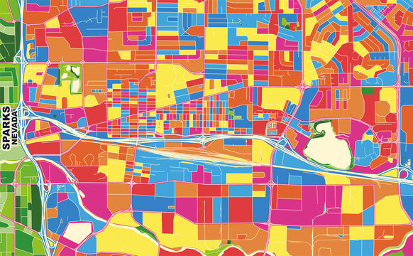 Sparks, Nevada, USA, colorful vector map