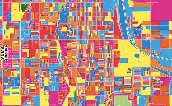 Yuma, Arizona, USA, colorful vector map