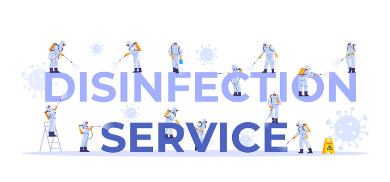 Disinfection service. Concept set of cleaning company staff different poses, for web page, banner, presentation, social media, documents, cards, posters. Coronavirus, pandemic. Vector illustration.