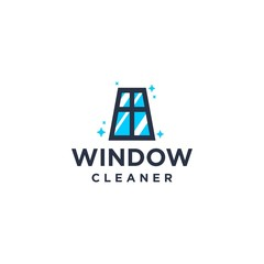 window cleaning service brand logo, house keeping service logo with clean window , sparkle exterior interior illustration