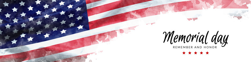 Memorial Day background illustration. text Memorial Day, remember and honor with America flag watercolor painting isolated on white background, vintage grunge style Fotobehang