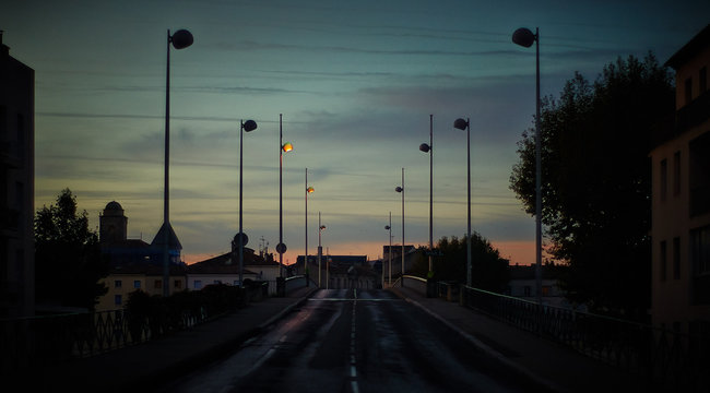 Street Against Sky During Sunset In City