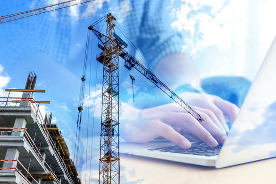 Double exposure of male programmer using laptop and construction site, closeup