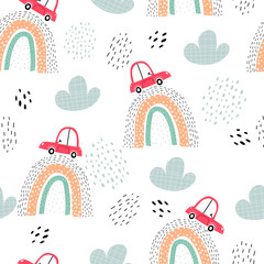 Seamless pattern with cars, rainbows, decor elements. colorful vector for kids. hand drawing, flat style. baby design for fabric, print, textile, wrapper