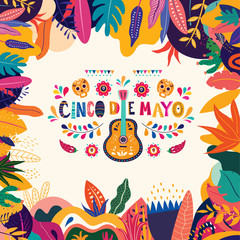Wall Mural - Mexican pattern with guitar, skull and red peppers. Holiday template for Mexican holiday Cinco de Mayo